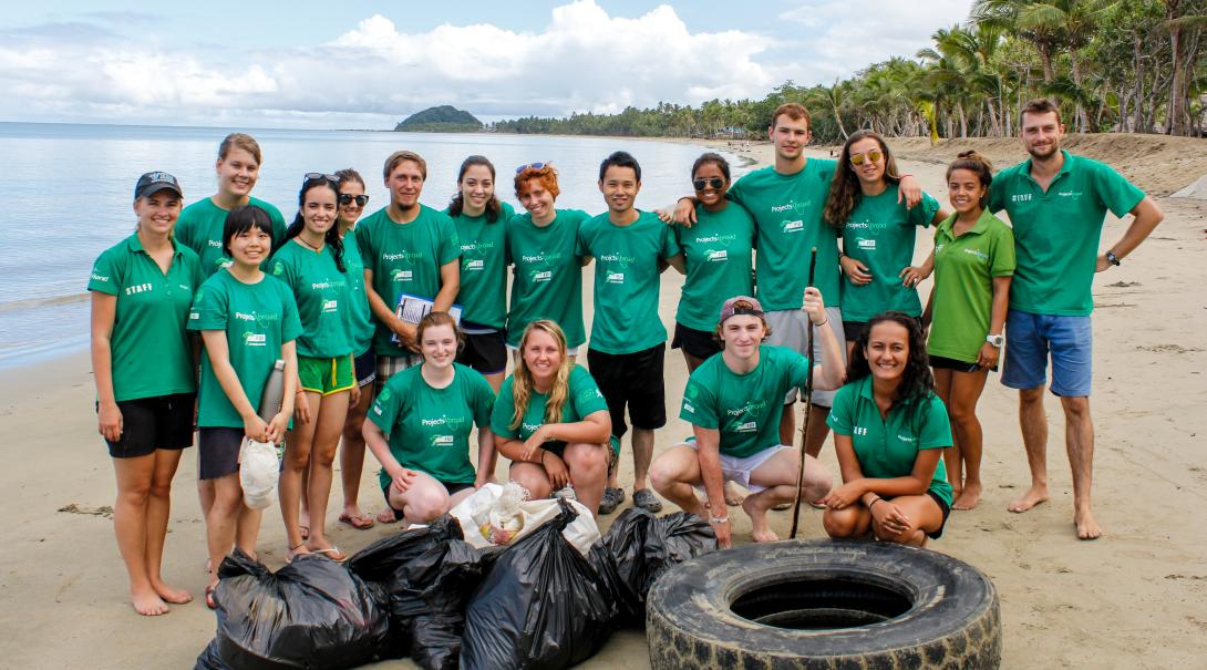 Group of volunteers after a beach cleanup